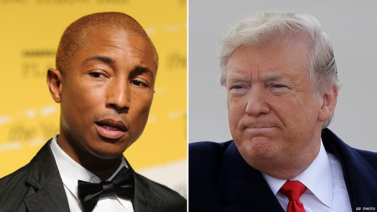 Pharrell Isn't 'Happy' With Trump: Files Cease and Desist