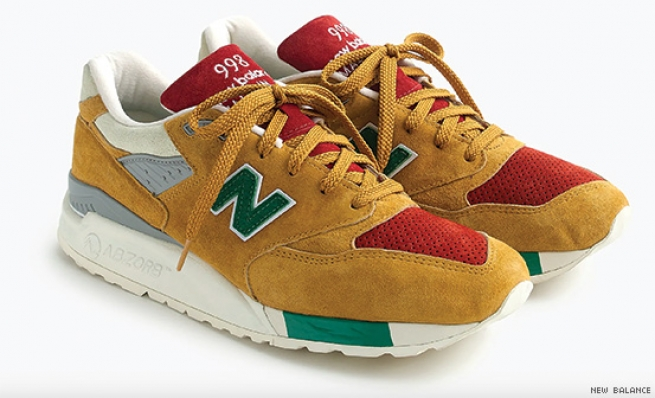 New Balance for J.Crew 998 Mustard X Ketchup X Relish Sneakers