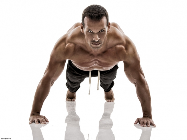 CHEST & SHOULDERS: WIDE-STANCE PUSH-UPS
